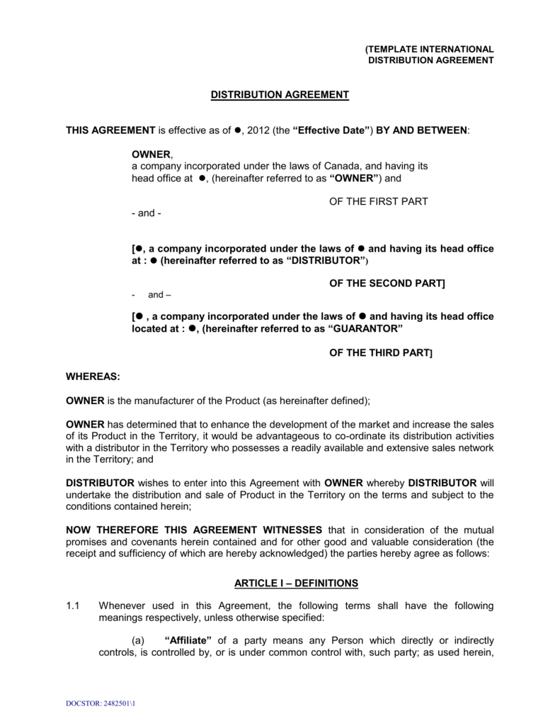 Sample Distribution Agreement Template