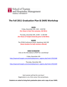 The Fall 2011 Graduation Plan & DARS Workshop WHEN Friday