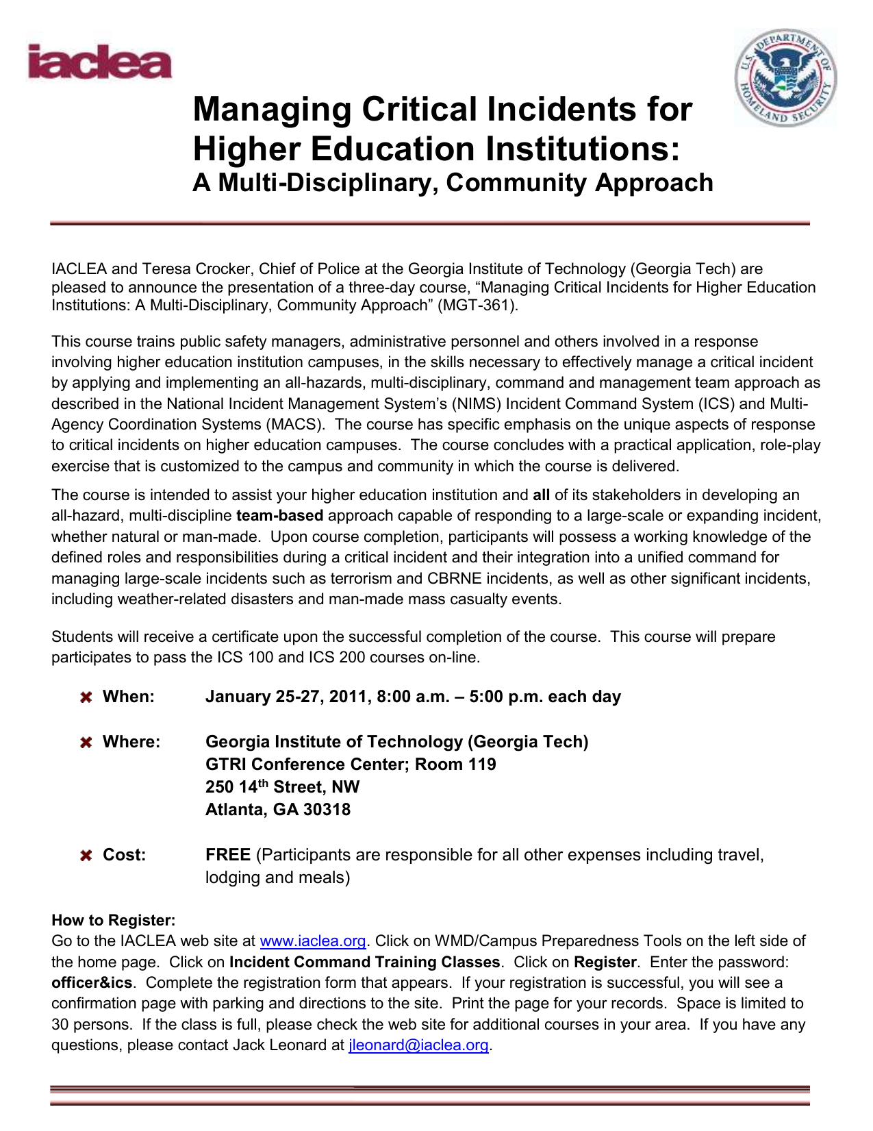 Managing Critical Incidents for Higher Education