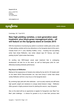 Syngenta Cereals Event 2015 preview press release
