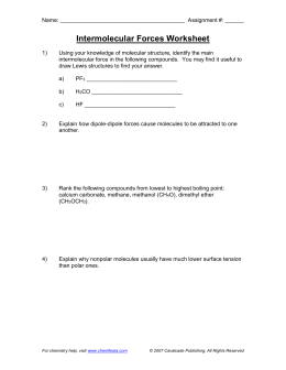 Intermolecular Forces Worksheet