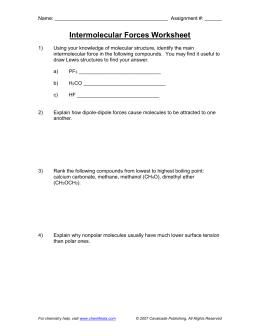 the Intermolecular Forces Worksheet
