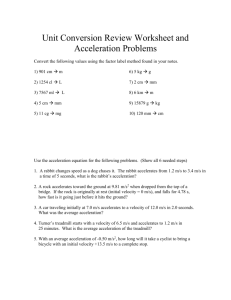 Unit Conversion Review Worksheet and Acceleration Problems