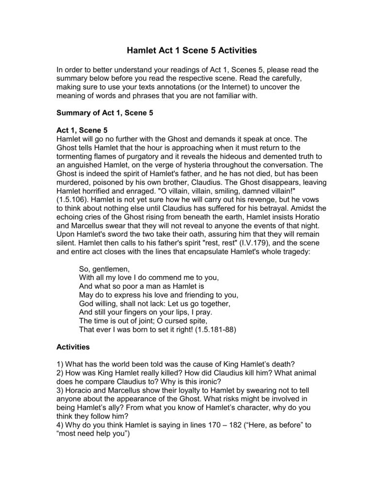 Hamlet Act 1 Scene 5 Activities Explanation