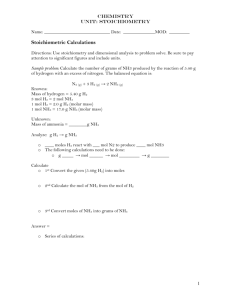 Student Worksheet: Introduction to Stoichiometric Calculations