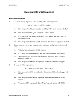 Worksheet 7.1 Stoichiometric Calculations