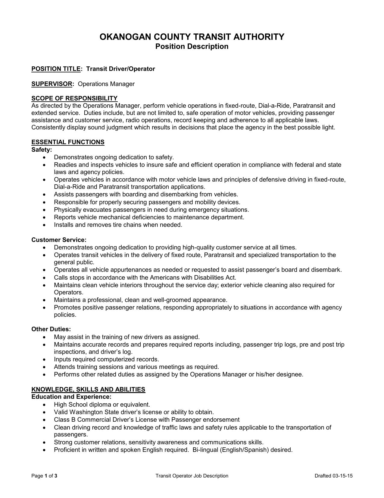 Transit Operator Job Description - Okanogan County Transit