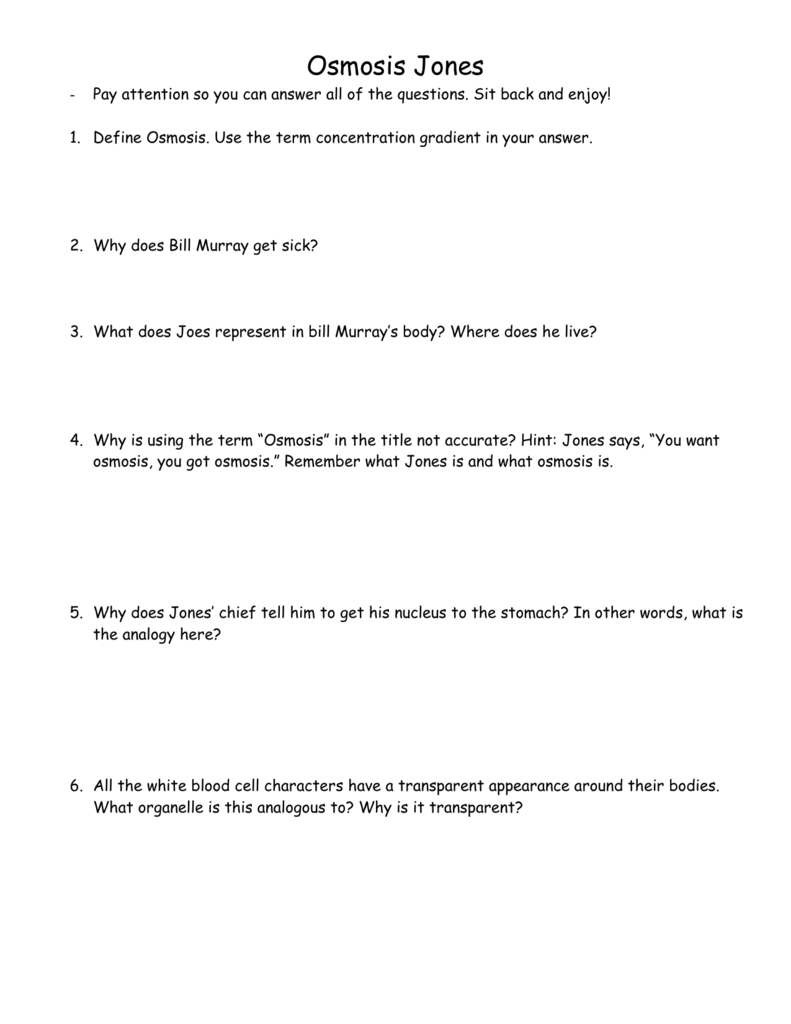 Osmosis Jones – Osmosis Jones Movie Worksheet