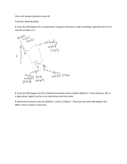 Chem 241 Sample Questions Exam #3 Transition Metal Bonding 1