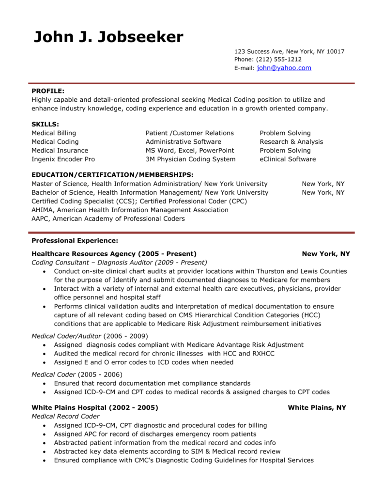 Medical Billing And Coding Resume