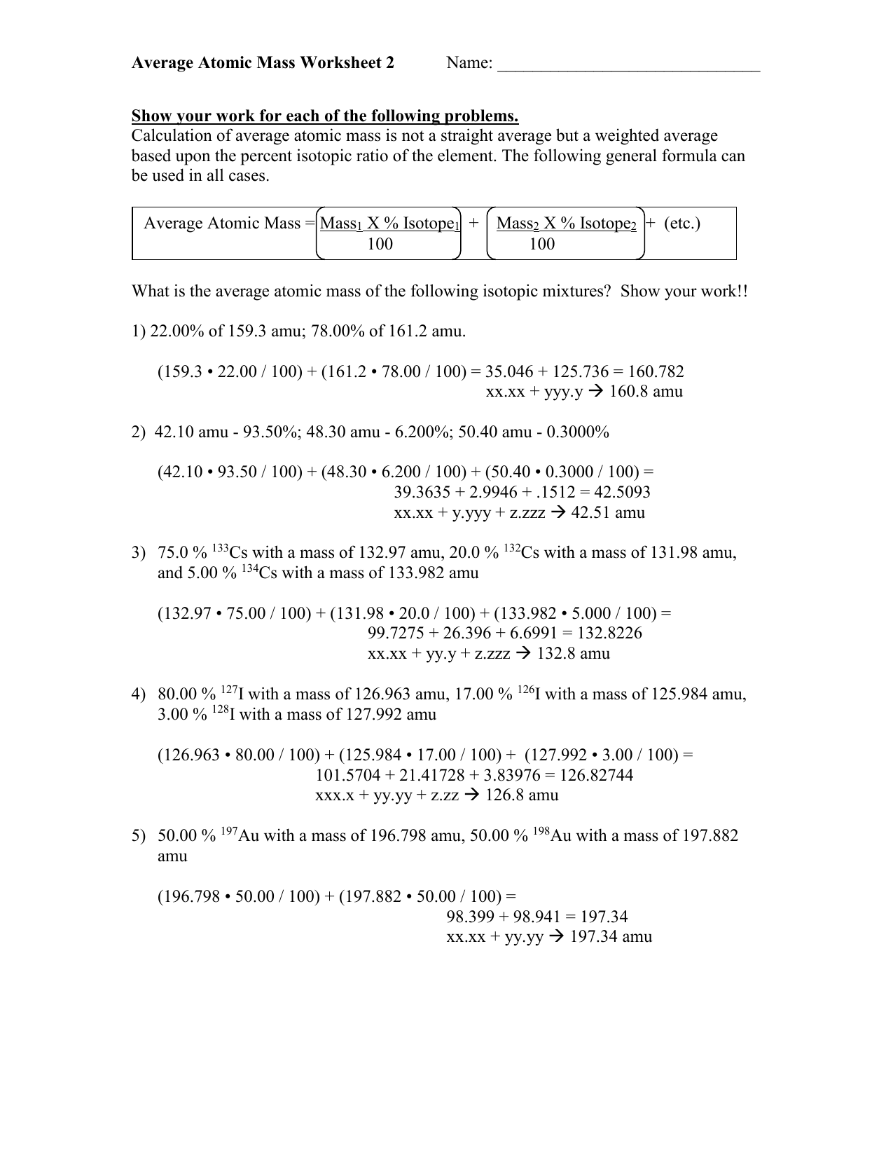02-06 Average Atomic Mass Worksheet 2