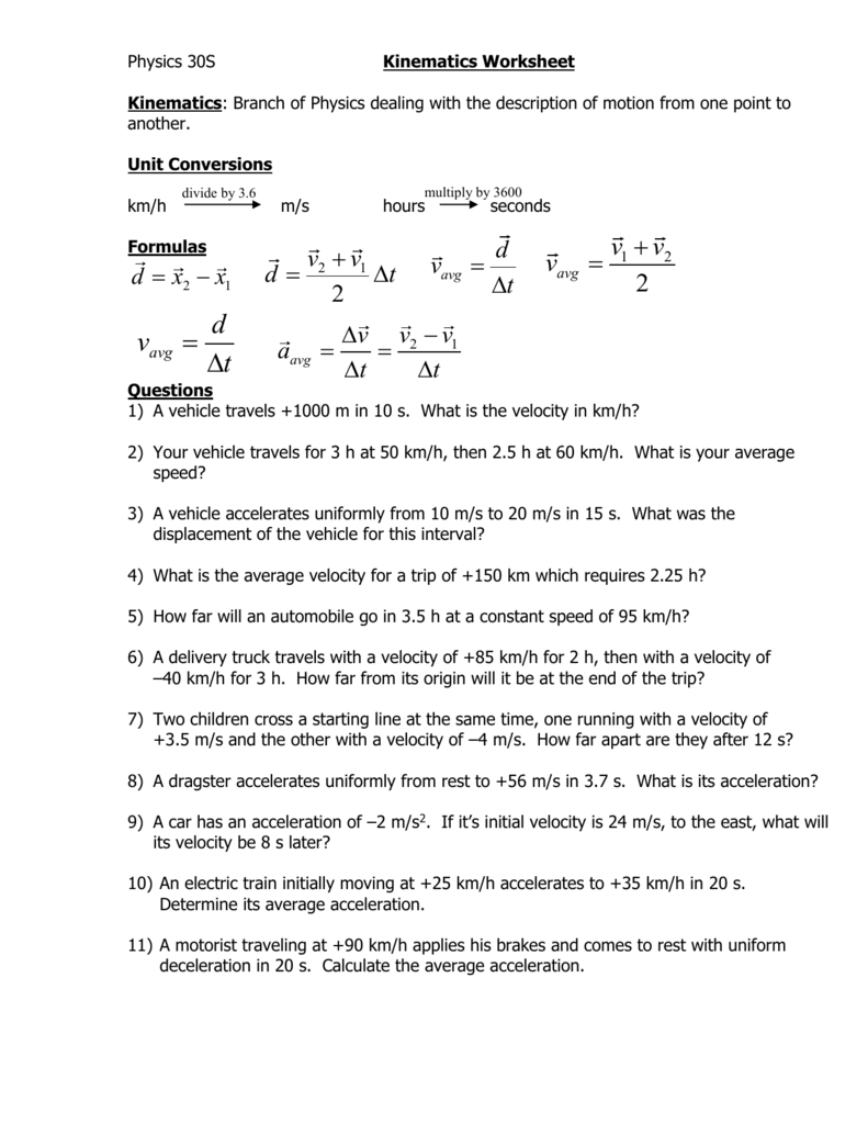 worksheet Kinematics Worksheet kinematics worksheet