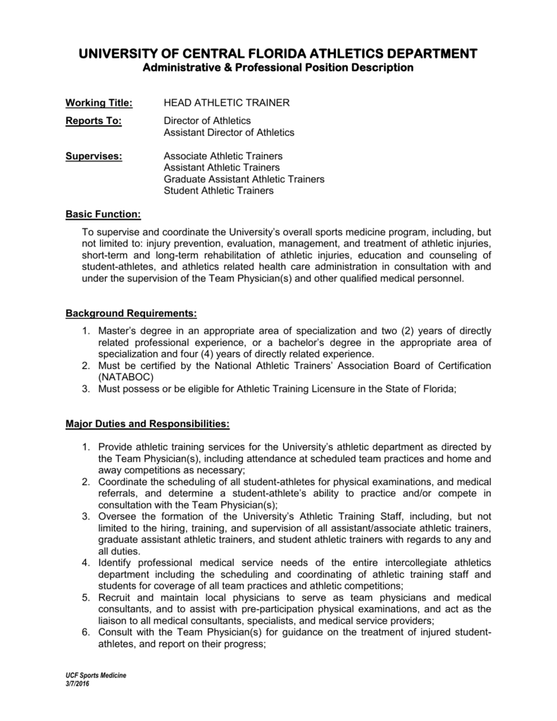 Job Description Assistant Athletic Trainer