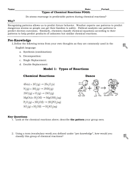 Types of chemical reactions worksheet answers model 1