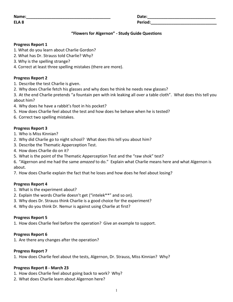 flowers for algernon questions study guide packet