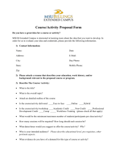 COURSE PROGRAM SCHEDULE WORKSHEET