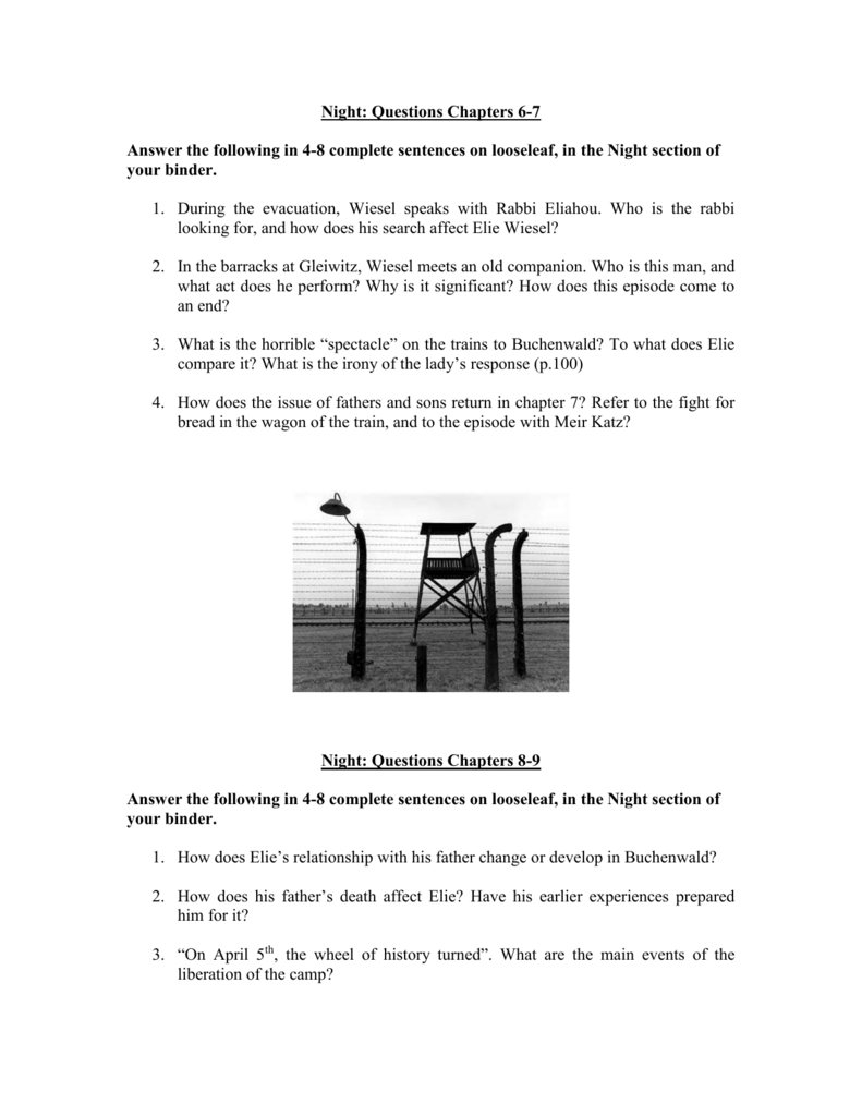 essay questions for night wiesel Night by elie wiesel - a personal account of the holocaust 8 pages 2061 words november 2014 saved essays save your essays here so you can locate them quickly.