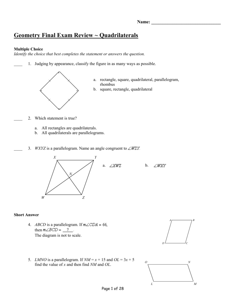 Geometry Final Exam Review ~ Circles