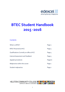 What is BTEC - Helston Community College
