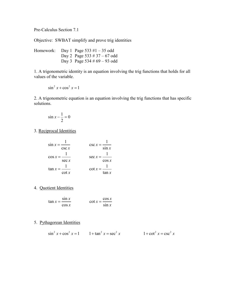 Pre Calculus Section 7