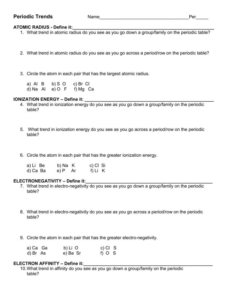 trends of the periodic table worksheet - Define Periodic Table Atomic Radius