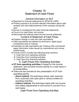Chapter 12: Statement of Cash Flows