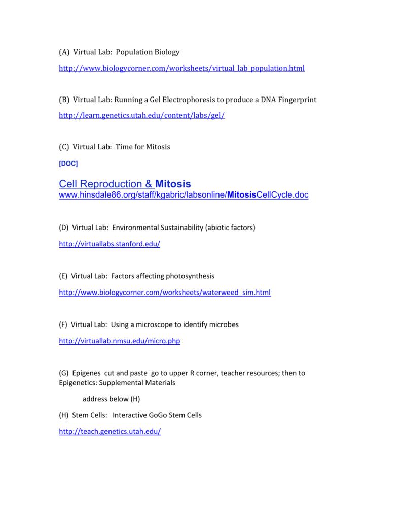 Virtual Labs for Summer 12 01 Secondary Science – Gel Electrophoresis Virtual Lab Worksheet