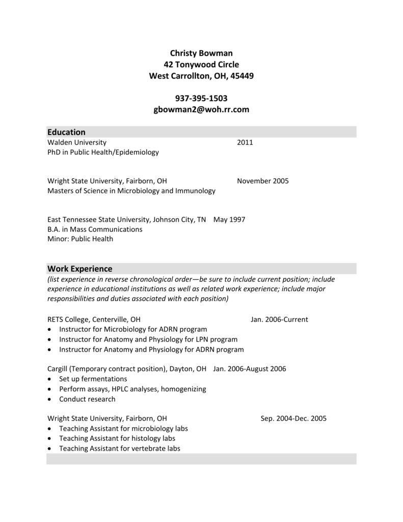 Appendix J - Sample CV for Faculty - BSN-EA