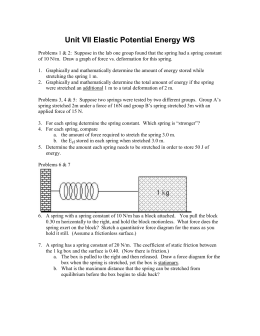Energy Worksheet 3 Hooke's Law E