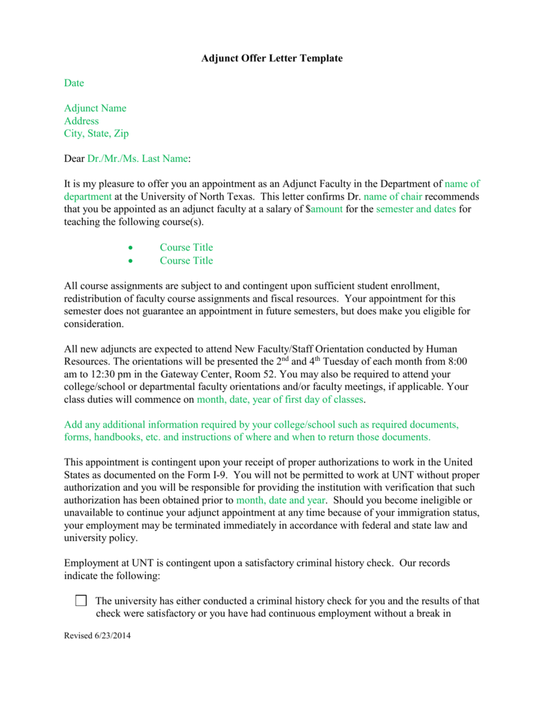 Adjunct Offer Letter Template Date Adjunct Name Address City