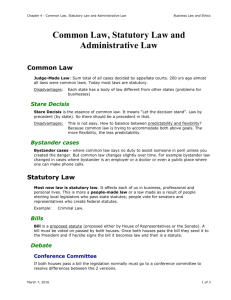 Common Law, Statutory Law and Administrative