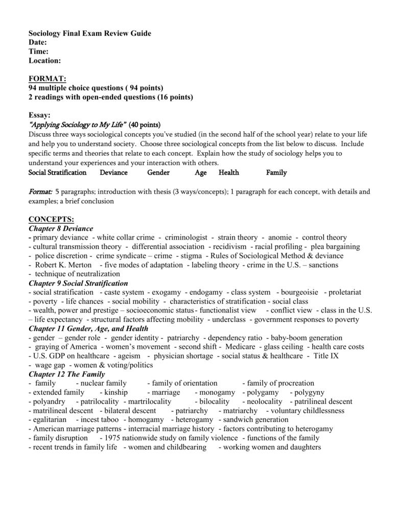 sociology final exam review guide rh studylib net sociology 101 final exam study guide pdf sociology study guide for final exam chapters 1-18