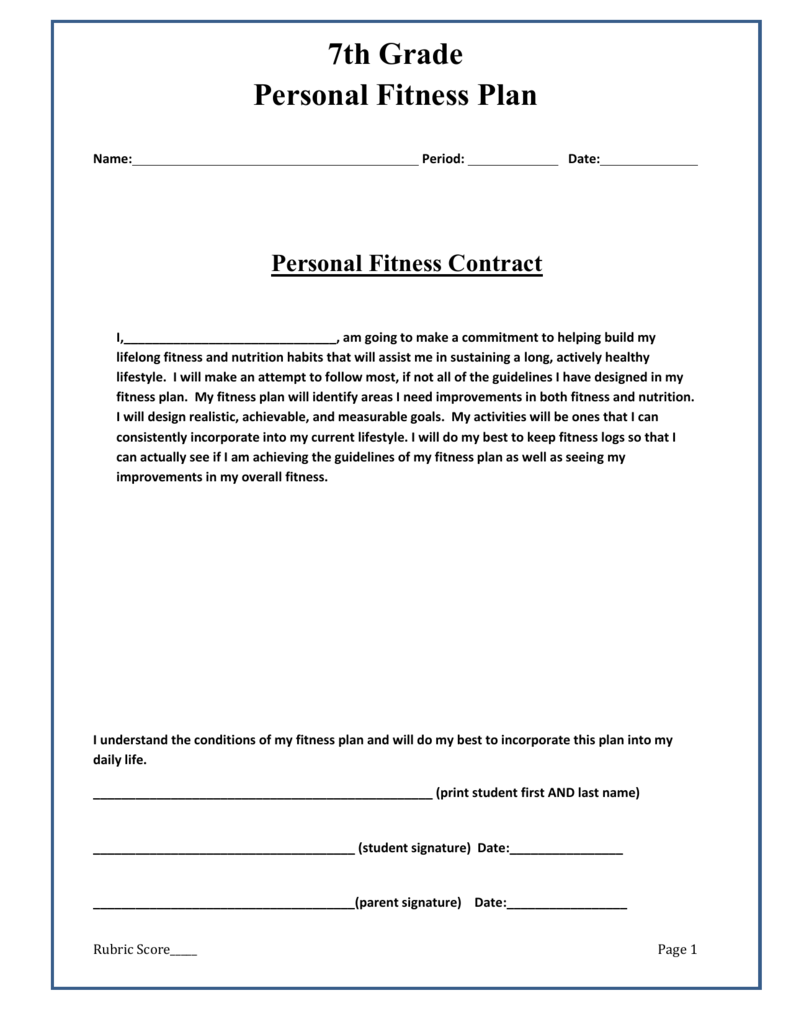 Fitness Project Criteria This sheet will guide your work on the ...