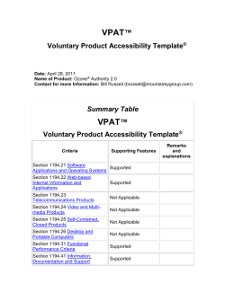 Voluntary Product Evaluation Template (VPAT)