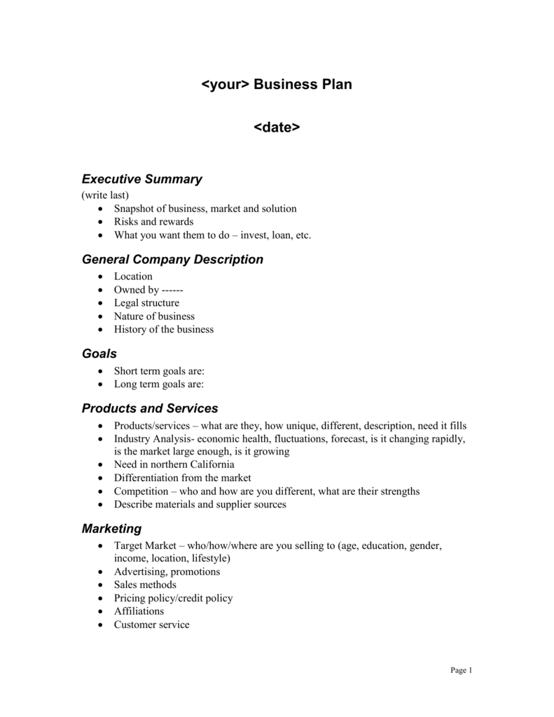 Business plan outline help