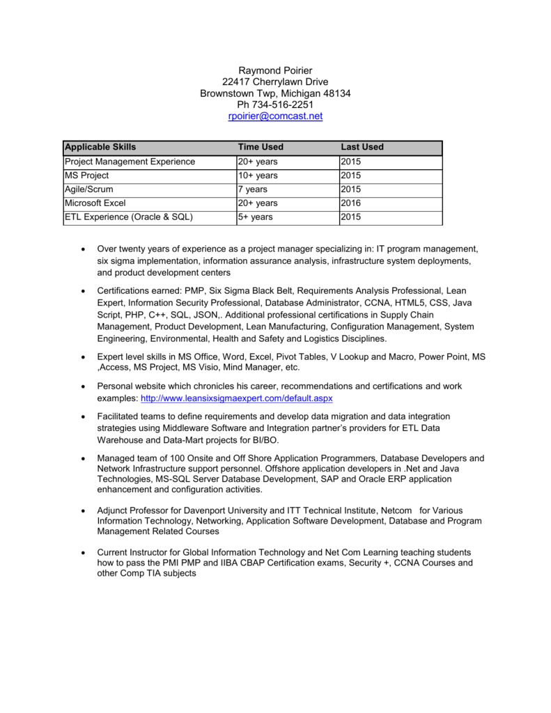 Resume Formatted Version