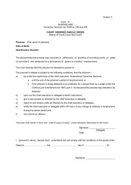 Form 31 - Court Ordered Parole Order