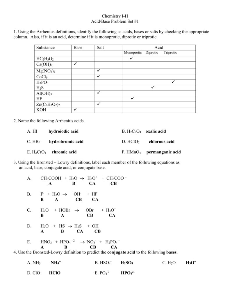 worksheet Conjugate Acid Base Worksheet acid base problem set 1