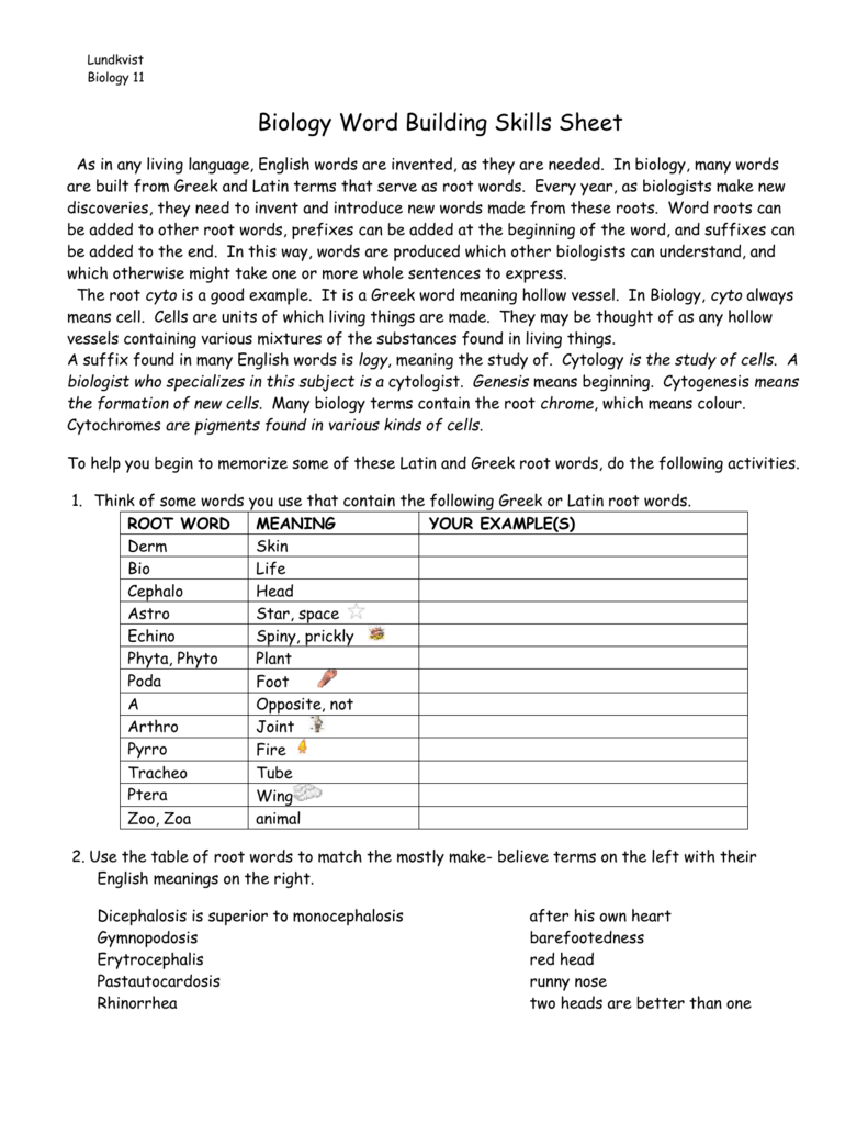 Worksheet Biology Word Building Skills