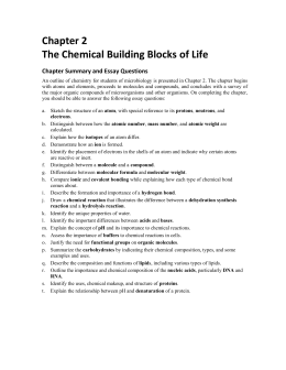 Chapter 2: The Chemical Building Blocks of Life