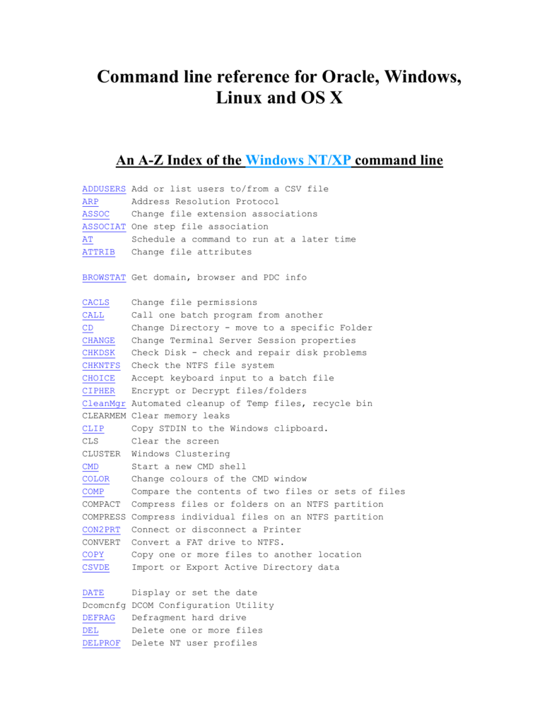 Command line reference for Oracle, Windows, Linux