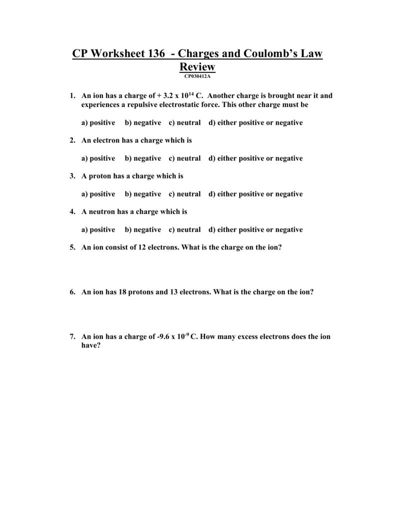 Electrostatics Worksheet Worksheets for Education – Electrostatics Worksheet