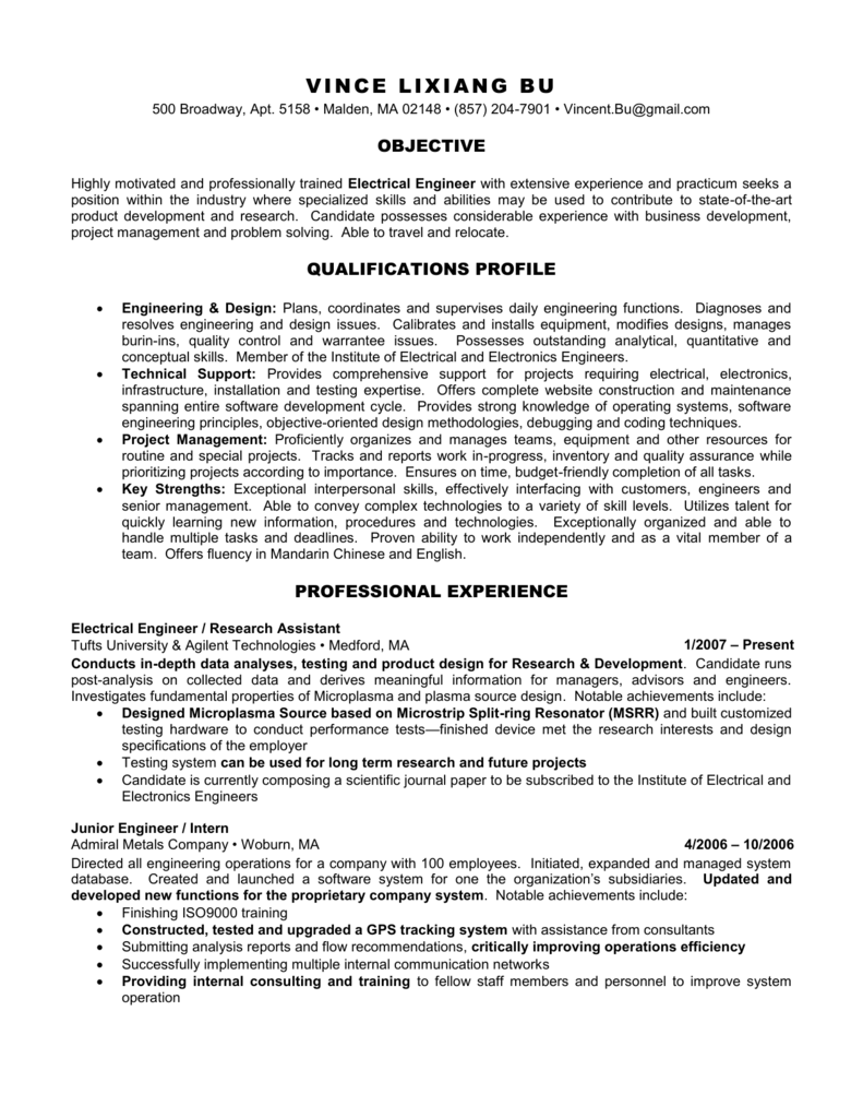 Resume for Electrical Engineer Job Postion