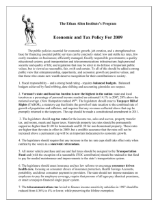Economic and Tax Policy for 2009