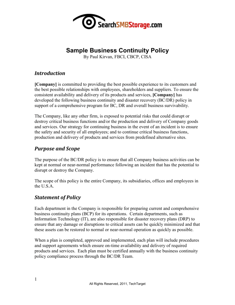 Sample Business Continuity Policy