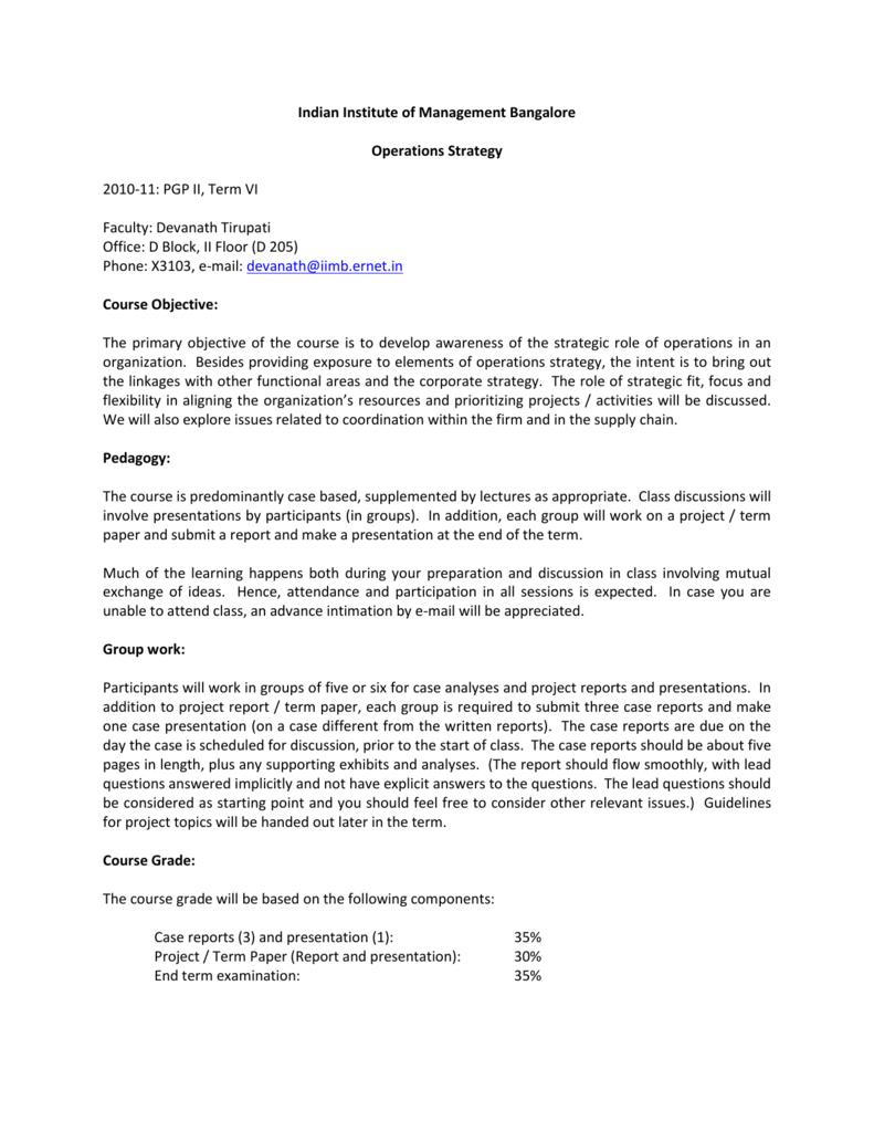 course management paper report term