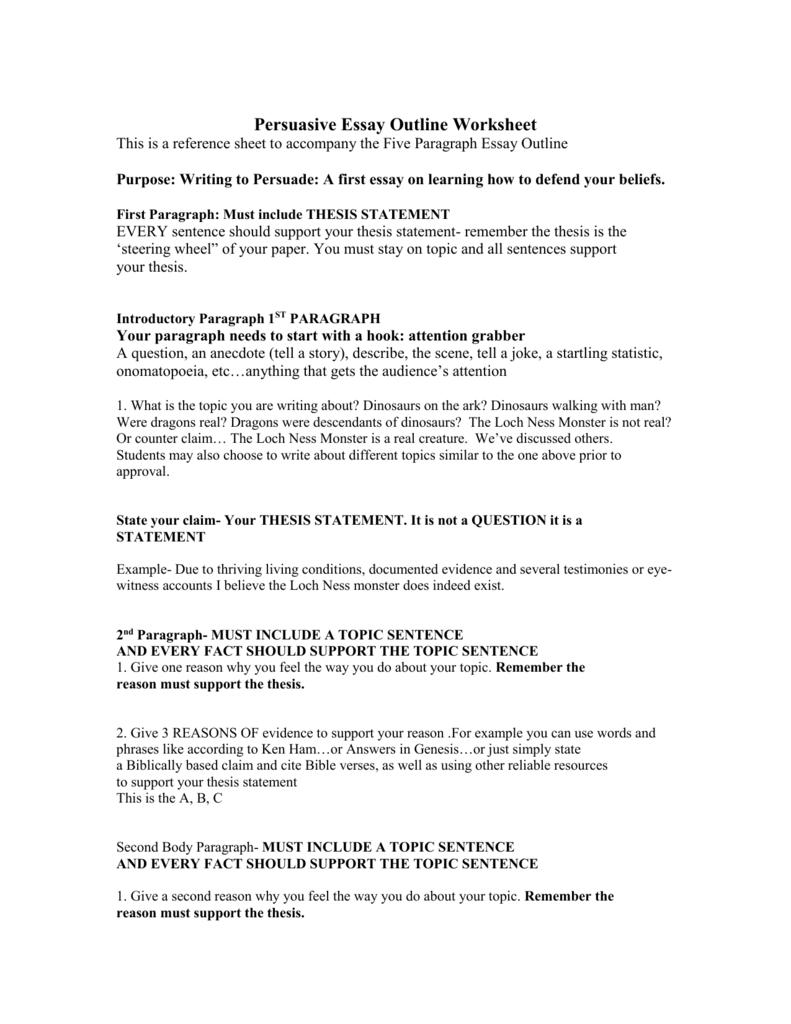 Persuasive Essay Outline Worksheet