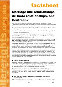 centrelink de facto relationship guide
