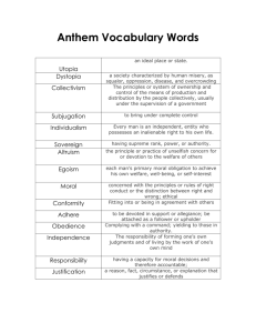 Anthem Vocabulary Words