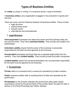 Types of Business Entities - businessstudiespreliminary